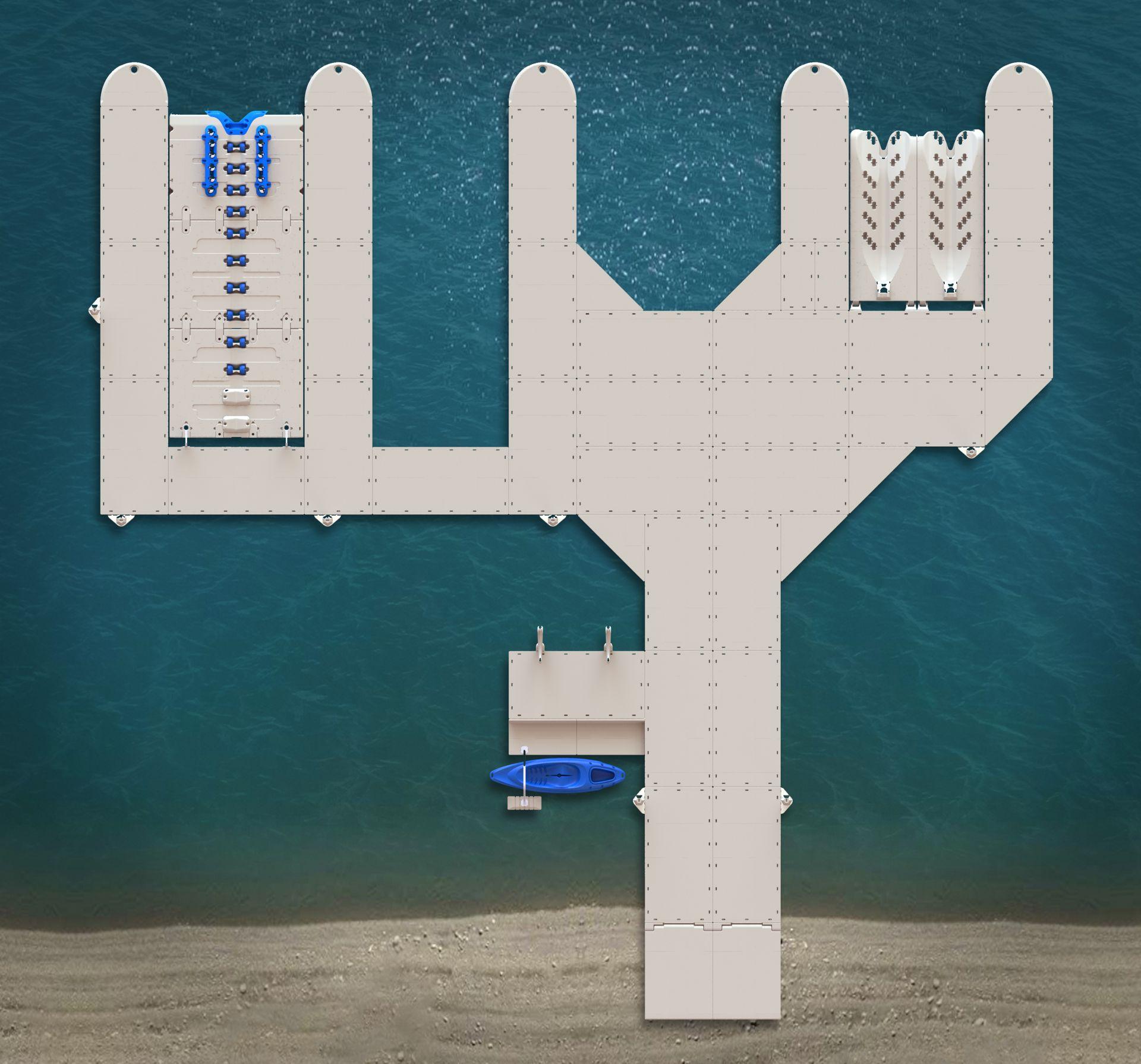 mobile shipyard, mobile hot tub, mobile swimming pool, mobile restrooms, mobile river, mobile bridge, mobile storage shed, mobile floating deck, mobile island, on floating dock on mobile home